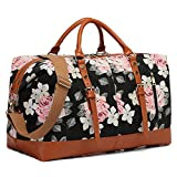 CAMTOP Weekend Travel Bag Ladies Women Duffle Tote Bags PU Leather Trim Canvas Overnight Bag (Flower)