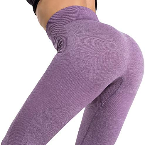 RUNNING GIRL Women Butt Lift Seamless Yoga Leggings, High Waisted Tummy Control Workout Leggings Compression Skinny Tights 6