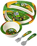 John Deere's Johnny Tractor and Friends Feeding 4 Piece Set, Green, Brown, Yellow, Blue, White, Red