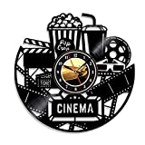 Home Theater Cinema and Popcorn Vinyl Record Wall Clock Movie Film Time Clock Watch Room Wall Decor Wall Art Gift for Movie Lover Gift Idea for a Best Friend