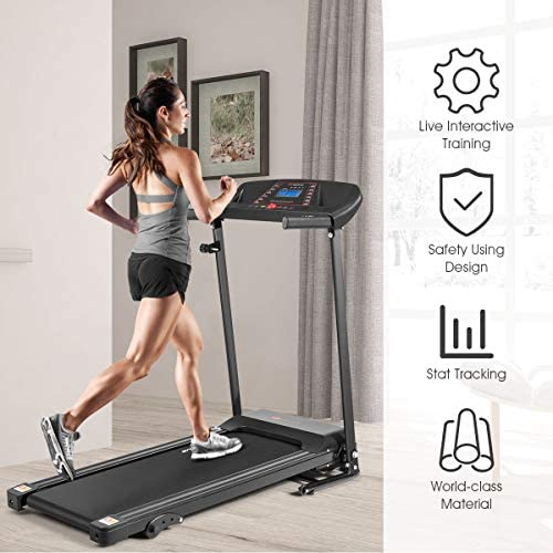 Goplus Electric Folding Treadmill, Adjustable Incline and Low Noise Design, with LCD Display and Heart Rate Sensor, Compact Running Machine for Home Use 6