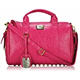 Womens Handbags Ladies Designer Shoulder Bag Faux Leather 3 Compartments Tote New Celebrity Style Large (Z - Pink)