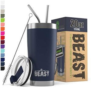 BEAST 20oz Navy Blue Tumbler - Stainless Steel Vacuum Insulated Coffee Ice Cup Double Wall Travel Flask 1