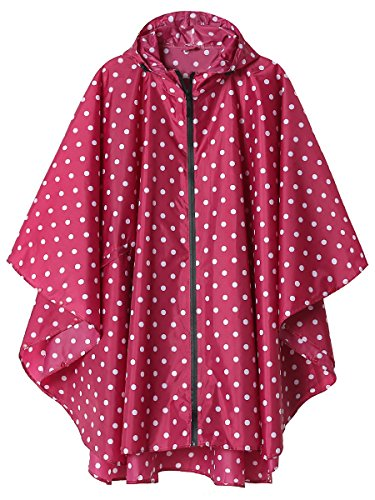 Rain Poncho Jacket Coat for Adults Hooded Waterproof with Zipper Outdoor (Pink Point)