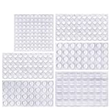 ONUEMP Clear Rubber Feet Bumpers Pads, 304 Pieces Adhesive Transparent Bumper Buffer Pads, 6 Sizes, 3 Shapes - Round, Hemispherical, Square Noise-Dampening Bumpers for Door, Drawers, Glass Non Slip