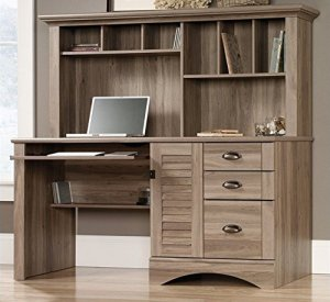 Sauder 415109 Harbor View Computer Desk with Hutch, L: 62.21' x W: 23.50' x H: 57.36', Salt Oak finish