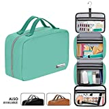 Leather Hanging Travel Toiletry Bag for Men and Women (Cruelty-Free) | Large (34'x11') | Leak Proof | Clear Pockets | Detachable Compartment | Makeup Bag | Cosmetic Bag (Tiffany Blue)