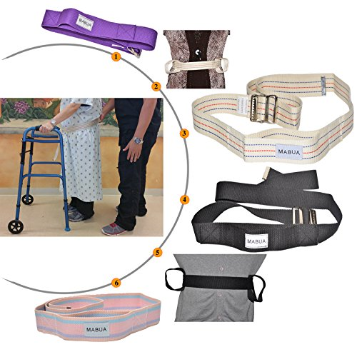 MABUA Physical Therapy Gait Belt with Metal Buckle -1 Loop Handle Beige 60'. Also Available 1 Loop Handle: Beige 72', Black 60', 72', Pink 60'