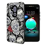 Capsule Case Compatible with T-Mobile Revvl 2 Plus, Alcatel 7 Folio, Alcatel 7 (2018) Metro PCS [Embossed Diagonal Lines Hybrid Dual Layer Slim Armor Case Black] - (Black White Sugar Skull)