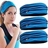 GearTOP Mens Headband and Guys Sweatband. Stretch Moisture Wicking, Best Yoga and Sports Headband for Men and Women. Optimize Your Athletic Performance! (3 Pack-Blue)