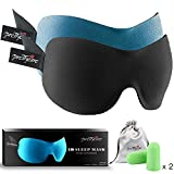 3D Sleep Mask (Unique Design by PrettyCare with 2 Pack) Eye Mask for Sleeping - Contoured Eyemask for Airplane with EarPlugs & Yoga Silk Bag for Travel - Best Night Blindfold Eyeshade for Men Women