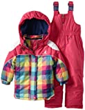 Rugged Bear Little Girls'  Plaid Snowsuit, Fuchsia, 2T