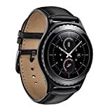 Fwheel Compatible with Samsung Gear S2 Classic Band SM-R732/R735 (Not Fit S2),Genuine Leather Smart Watch Replacement Band Strap with Stainless Steel Buckle(Black)
