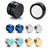 5 Pairs Stainless Steel Non Piercing Magnetic Earring Studs for Non Pierced Ears,Colorful,Hypoallergnic