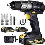Drill Driver, 20V 1/2' Cordless Drill Set 2x2.0Ah Li-Ion Batteries, 30Min Fast Charger 4.0A, 29pcs Accessories, 24+1 Torque Setting, 2-Variable Speed Max Torque 530 In-lbs, Metal Keyless Chuck