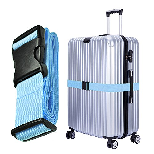 Hibate Adjustable Long Luggage Strap Baggage Large Suitcase Belt - Blue