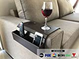 Meistar Sofa Arm Tray Table. Remote Control and Cellphone Organizer Holder, Arm Rest Organizer, Arm Rest Table with Pockets (Tobacco/Dark Brown)