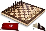 GrowUpSmart Smart Tactics 16' Folding Chess Set Made by FSC Certified Wood - Premium Edition with Chess Bag and Extra Chess Pieces