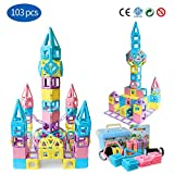 Magnetic Building Blocks STEM Educational Toys Tiles Set for Boys & Girls丨Magnet Stacking Block Sets for Kid's Basic Skills Learning & Development Toys-Great Gifts 103PCS