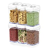 DWËLLZA KITCHEN Airtight Food Storage Containers with Lids - 6 Piece Set/All Same Size - Medium Air Tight Snacks Pantry & Kitchen Container - Clear Plastic BPA-Free - Keeps Food Fresh & Dry