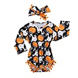 2Pcs/Set Cute Infant Newborn Baby Girl Long Sleeve Pumpkin Bodysuit Pompom Romper with Headband Halloween Outfit Clothes (0-3 Months, Black)