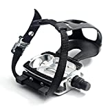 DRBIKE Bike Pedals with Toe Clips/Cages and Straps, 9/16' Aluminum Alloy Bicycle Pedals for Exercise Bike Spin Bike Mountain Bike