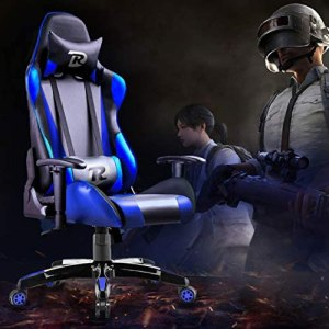 RuiDun Gaming Chair Office Chair Racing Chair High-Back Chair PU Leather Chair Ergonomic Adjustable Seat with Headrest and Lumbar Support (Black/Blue)