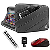 """Aero Shock Proof Grey Carrying Sleeve w/7 Port USB HUB, 64GB Micro SD Card, Wireless Mouse For Dell Inspiron/XPS/Alienware/14-15.6"""" Laptops PC"""