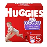 Huggies Little Movers Diapers, Size 5 (27+ lb.), 124 Count, One Month Supply (Packaging May Vary)