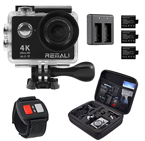 4K Sports Action Camera by REMALI, The Best Action Camera Package Available ON Amazon - Carrying Case, 2 Extra Batteries, Dual Battery Charger, Remote Control, 19 Mounts and Accessories!! Buy Now!