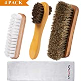 TAKAVU Shoe Shine Kit (4PCS) - 100% Soft Horsehair Bristles Brush, Polish Applicator, Crepe Suede Shoes Brush, Microfiber Buffing Cloth for Shoes, Leather, Boot, Cloth, Bag