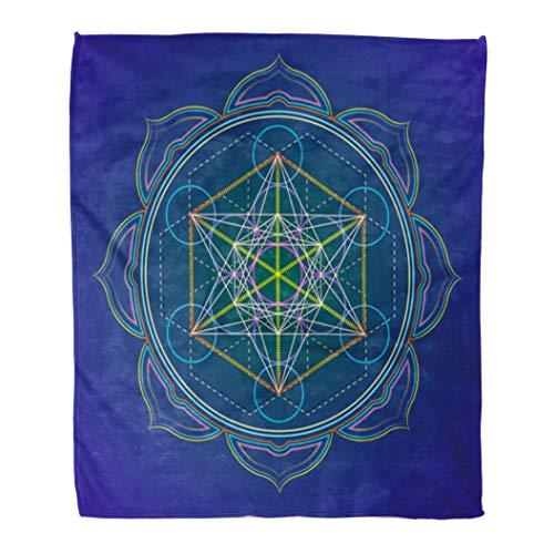 Emvency 50' x 60' Super Soft Throw Blanket Colorful Colored Design Mandala Sacred Geometry Metatron's Cube Yantra Lotus Dark Home Decorative Flannel Velvet Plush Blanket