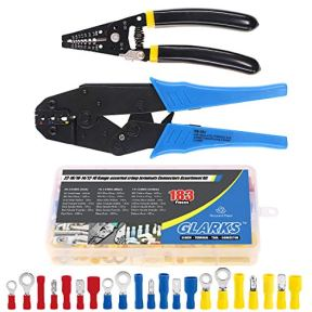 Glarks-Professional-Self-Adjustable-Ratchet-Wire-Crimping-Pliers-AWG-22-10-and-a-Wire-Stripper-Tool-Set-with-183Pcs-Insulated-Butt-Bullet-Spade-Ring-Crimp-Terminals-Connectors-Assortment-Kit