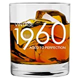 1960 60th Birthday Gifts for Men Women | 11 oz Whiskey Bourbon Lowball Glass | Funny Vintage 60 Year Old Gift Present Ideas for Him Dad Husband | Anniversary Christmas Whisky Glasses Party Decorations