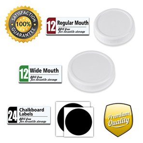 Aozita-24-Pack-Plastic-Storage-Caps-for-Mason-Jars-Plastic-Canning-lids-for-Ball-and-More-Regular-Mouth-Jar-Wide-Mouth-Jar-Combo-12-of-Each-with-24-Chalkboard-Labels