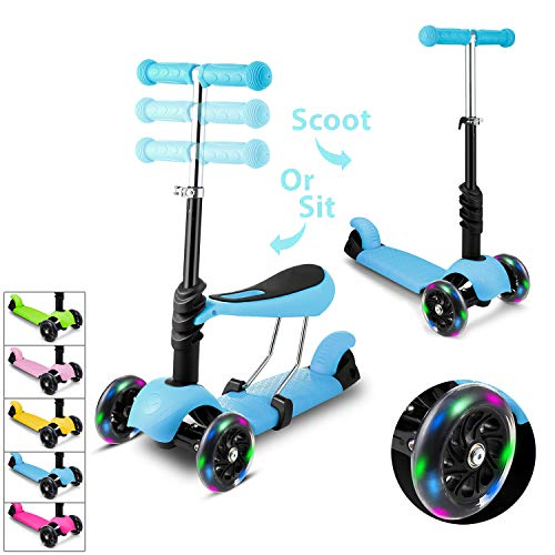 Lululy Children Scooter Kids 3 Wheel Kick Scooter Adjustable Height Beginner Scooter with Removable & Adjustable Seat, T-Handlebar and LED Light Up Wheel for Children Boys Girls 2-10 Years Old