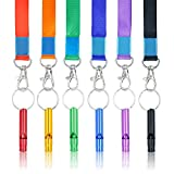 SUBANG 12 Pcs Hiking Camping Aluminum Emergency Whistles Survival Whistle with Lanyards, 6 Colors