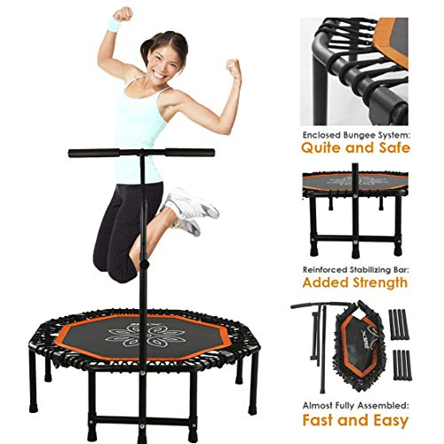 Xspec 44' Silent Fitness Mini Trampoline with Adjustable Handrail Bar, Orange & Black – Indoor Rebounder for Adults – Best Cardio Jump Fitness Low Impact Workout Trainer, Covered Bungee Rope System
