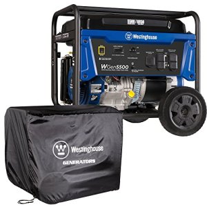 Westinghouse WGen5500 Portable Generator with Cover – 5500 Rated Watts & 6850 Peak Watts – Gas Powered –  – Transfer Switch Ready