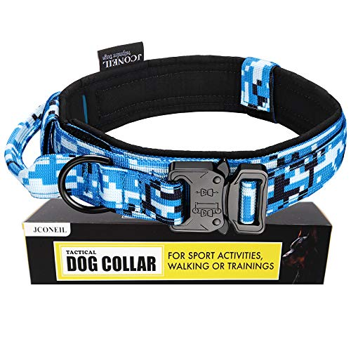 JCONEIL Tactical Dog Collar Nylon Adjustable with Handle and Heavy Metal Buckle Medium & Large Dog