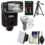 Sunpak DigiFlash 3000 E-TTL II Electronic Flash + Batteries/Charger + Tripod + Soft Box + Diffuser Kit for Canon EOS 6D, 70D, 7D Mark II Rebel T3, T3i, T5, T5i, SL1 Camera