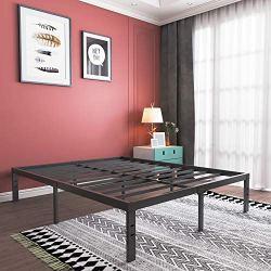 14 Inch Metal Platform Bed Frame/Heavy Duty Steel Slat Mattress Foundation/No Box Spring Needed/Noise-Free/None- Slip/Black Finish, Queen