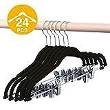 HOUSE DAY Velvet Skirt Hangers - Pack of 24 - Velvet Hangers with Clips Ultra Thin Non Slip Velvet Pants Hangers Space Saving Clothes Hanger (Black)