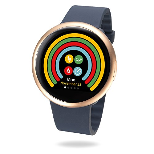 MyKronoz ZeRound2 Smartwatch with Circular Color Touchscreen and Smart Notifications, Swiss Design, iOS and Android - Pink Gold/Blue