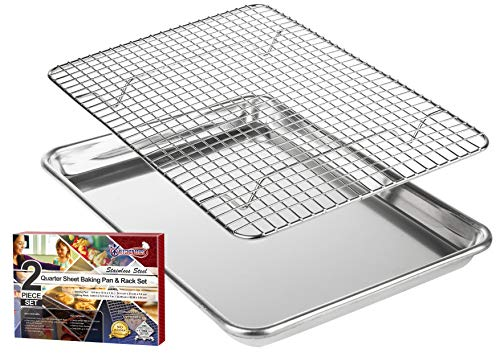 """KITCHENATICS Roasting & Baking Sheet with Cooling Rack: Quarter Aluminum Cookie Pan Tray with Stainless Steel Wire Rack - 9.6' x 13"""", Heavy Duty Quality, Oven Safe and Non Toxic"""
