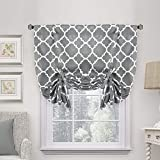 H.VERSAILTEX Thermal Insulated Grey Blackout Curtain - Tie Up Shade for Small Window (Rod Pocket Panel, 42' W x 63' L, Moroccan Printed in Gray)