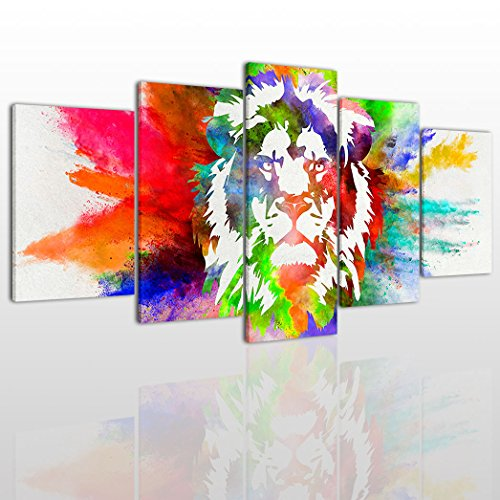 Powerful captivating and majestic lion wall art animal wall decor colorful lion portrait canvas wall art painting modern design picture for home office decor 5 publicscrutiny Images