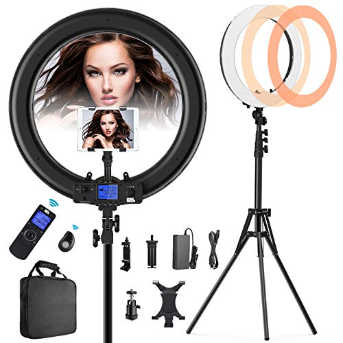 Ring-Light-with-Wireless-Remote-and-iPad-Holder-Pixel-19-Bi-Color-LCD-Display-Ring-Light-with-Stand-and-Selfie-Remote-55W-3000-5800K-CRI97-Light-Ring-for-Vlogging-Portrait-Makeup-Video-Shooting