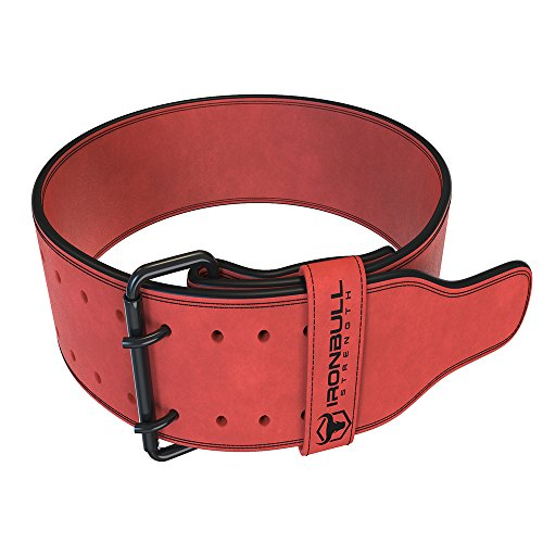 Iron Bull Strength Powerlifting Belt - 10mm Double Prong - 4-inch Wide - Heavy Duty for Extreme Weight Lifting Belt (Red, Large)
