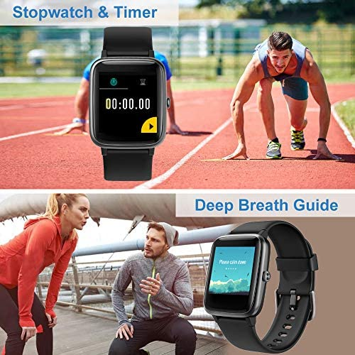 Willful Smart Watch for Android Phones and iOS Phones Compatible iPhone Samsung, IP68 Swimming Waterproof Smartwatch Fitness Tracker Fitness Watch Heart Rate Monitor Smart Watches for Men Women Black 8